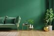Leinwandbild Motiv Interior mockup green wall with green sofa and decor in living room.