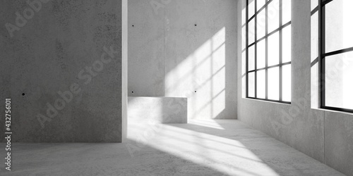 Fototapeta Abstract empty, modern concrete room with window on the right wall, sun light and rough floor - industrial interior background template obraz