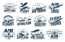Vintage Plane Isolated Vector Icons Of Air Travel, Retro Aircraft And Passenger Airline Design. Airplane, Biplane, Monoplane And Seaplane Symbols With Propellers, Pilot Control Wheels And Stars