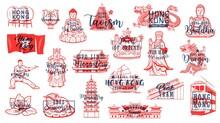 Hong Kong Buddhism Symbols, Travel Landmarks Vector Icons. Chinese Drums, Bauhinia Flower And Buddha Monument, Hong Kong Flag And Coat Of Arms, Tram, Junk Ship And Money Toad, Tin Hau Sea Goddess