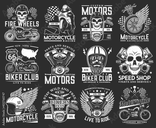 Foto Biker club skull emblems, motorcycle races and speedway sport rides, vector icons