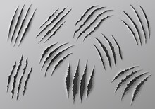 Claw Marks, Scratches And Torn Traces Of Vector Animal Paw Slashes. Monster Claw Marks Of Wild Tiger, Lion, Cat Or Bear Attacks, Dinosaur Or Werewolf Aggressive Traces, Halloween Or Horror Themes