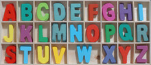Wooden Vintage Colorful Alphabet Set, Lettering A To Z, Educational Toys