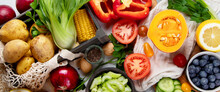 Selection Of Fresh Raw Vegetables, Fruits And Beans On Light Gray Background.