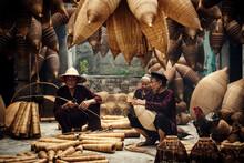 Craftsman Making Bamboo Fish Trap At Old Village, Hung Yen, Vietnam