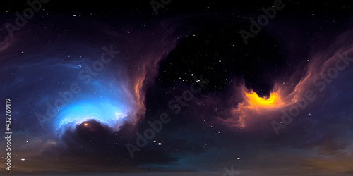 Fototapeta 360 degree interstellar cloud of dust and gas