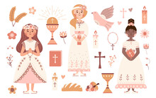 First Communion Vector Set Praying Girls With Bible