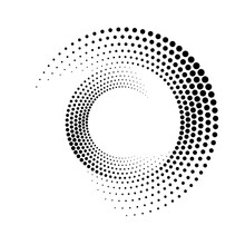 Circular Dot Frame. Circle Border With Effect Halftone. Modern Faded Ring. Semitone Shape Round. Point Boarder. Geometric Dots Pattern. Graphic Radial Element For Futuristic Design Prints. Vector