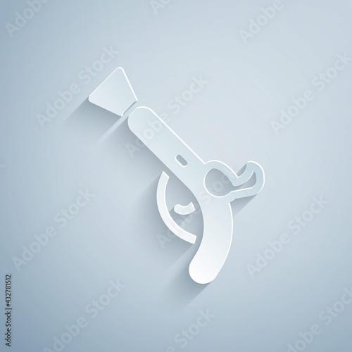 Obraz na plátně Paper cut Vintage pistols icon isolated on grey background
