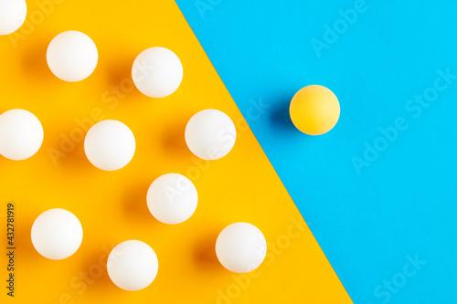 Vászonkép Table tennis balls in contrast