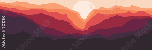 Fotografie, Obraz moonrise in mountain landscape flat design vector illustration for background te