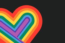 Rainbow Heart LGBTQ Pride Month Concept On Black Background