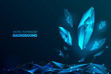 Abstract Digital Futuristic Glittering Transparent Digital Scattering Clear Crystals And Triangle Polygons As The Ground On Glowing Dark Blue Background Illustration Vector Template Design Concept