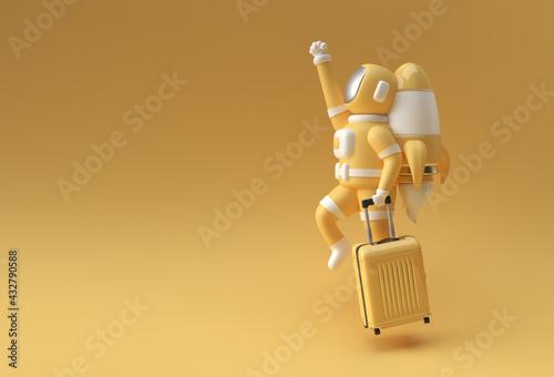 3d Render Astronaut Flying with Travel Bag 3d illustration Design. - fototapety na wymiar