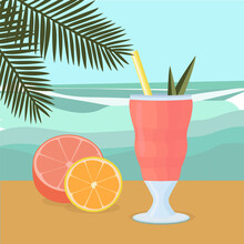 Cocktail With Straw And Fruit On The Background Of The Sea