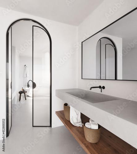 Fototapeta 3d rendering of a white minimal bohemian Mediterranean concrete bathroom with a bathtub and a concrete sink obraz