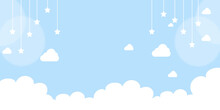 White Clouds With Stars On Pastel Sky Blue Background, Illustration.