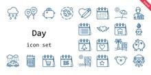 Day Icon Set. Line Icon Style. Day Related Icons Such As Calendar, Love, Rain, Balloon, Raining, Heart, Wedding Car, Journalist, Saving, Environment, Love Birds, Beach, Savings,