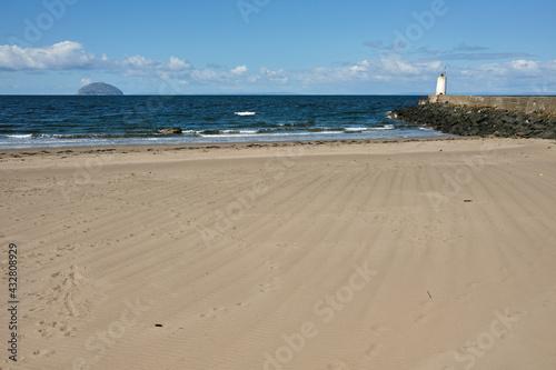 Photo Girvan beach looking towards Ailsa Craig, South Ayrshire.