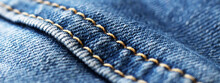 Blue Jeans With Seam Closeup Shot.