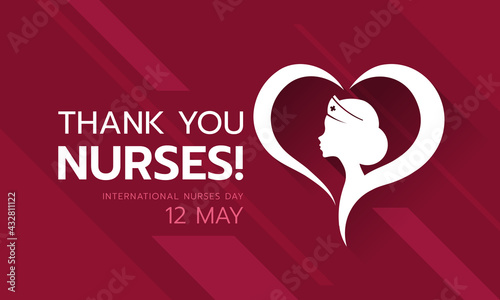 International nurses day, Thank you nurses text and white head woman nurses in heart sign vector design