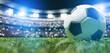 Leinwandbild Motiv Football soccer ball on grass field on stadium