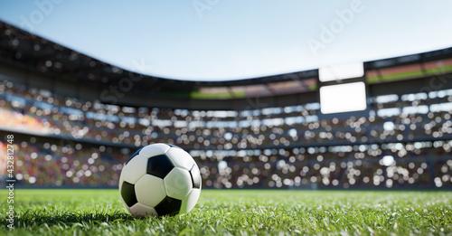 Fotografía Football soccer ball on grass field on stadium