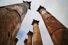 The Columns Of The Temple Of Artemis In Jerash