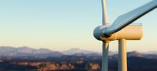 Wind Turbine. Sustainable Energy, Clean Power.