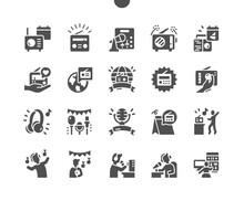World Amateur Radio Day 18 April. Microphone And Radio Equipment. Listening To The Radio. Calendar. Eighteenth Of April. Vector Solid Icons. Simple Pictogram