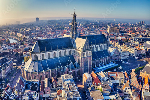 Netherlands, Haarlem - 20-03-2021: view from high above on the city of Haarlem. - fototapety na wymiar