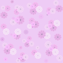 Seamless Pattern With Pale Pink Flowers On A Pink Background, Design For Textiles, Fabric