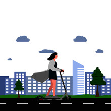 Vector Illustration - Woman On Skateboard. Park, Forest, Trees And Hills In Winter. World Car Free Day. The Use Of The Skateboard As A Means Of Transportation.