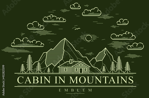 Fototapeta Cabin in mountains linear vector nature emblem on dark, log cabin cottage for rest in pine forest, holidays and vacations theme line art drawing logo. obraz