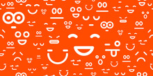 Emoji Smileys Seamless Vector Background, Endless Pattern With Emotions Icons, Simplistic Funny Wallpaper Design Pic.