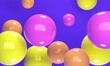 Leinwandbild Motiv Bright and shiny abstract background with multicolored flying balls. Backdrop design for product promotion. 3d rendering