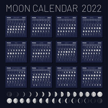 Moon Calendar 2022 Year On Night Blue Sky Backdrop. Lunar Phases, Monthly Cycles Planner, Astrology Or Astronomy Poster, Banner, Card Design Template Vector Illustration