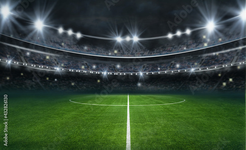 textured soccer game field with neon fog - center, midfield - fototapety na wymiar