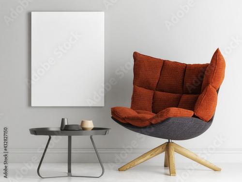 Mockup a poster, an armchair in minimal interior design, 3d render, 3d illustration.