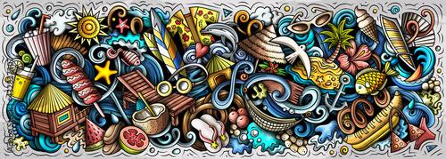 Summer beach hand drawn cartoon doodles illustration. - fototapety na wymiar