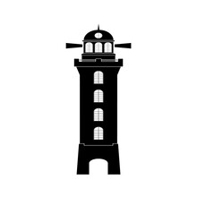 The Lighthouse Shows The Way To Sea Vessels To Avoid Disaster. Vector Image.