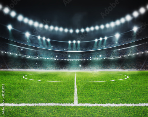 green field in soccer stadium. ready for game in the midfield - fototapety na wymiar
