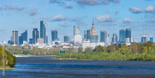 Warszawa – panorama miasta. - fototapety na wymiar