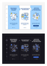 Digital Inclusion Preconditions Onboarding Vector Template. Responsive Mobile Website With Icons. Web Page Walkthrough 3 Step Screens. Technology Access Color Concept With Linear Illustrations