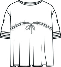T Shirt Flat Sketch FOR GIRLS. Technical Drawing Of Fashion T Shirts For Girls. Fashion Vector Illustration For Girls. Girls Clothing Design Template. Fashion Technical Drawing.