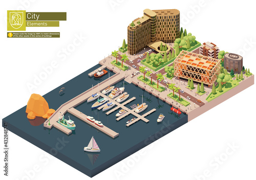 Fototapeta Vector isometric marina, sailboats and yacht harbor. City street, buildings and seaport. Docked or moored yachts, boats and speedboats near hotel building obraz
