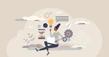 Productivity Management Or Efficient Performance Planning Tiny Person Concept. Workflow Time And Quality Control For Successful Results Monitoring And Job Tasks Optimization Vector Illustration.