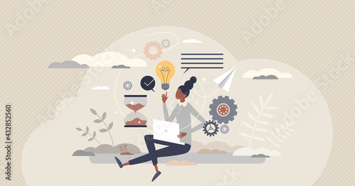 Fototapeta Productivity management or efficient performance planning tiny person concept. Workflow time and quality control for successful results monitoring and job tasks optimization vector illustration. obraz