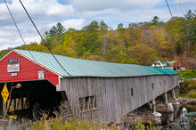 The Wooden Covered Bridge In Bath New Hampshire USA.the Town Is Noted For Its Historic Architecture, Including The Brick Store And Three Covered Bridges