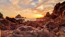 Ocean Rock Sunset Spot Japan